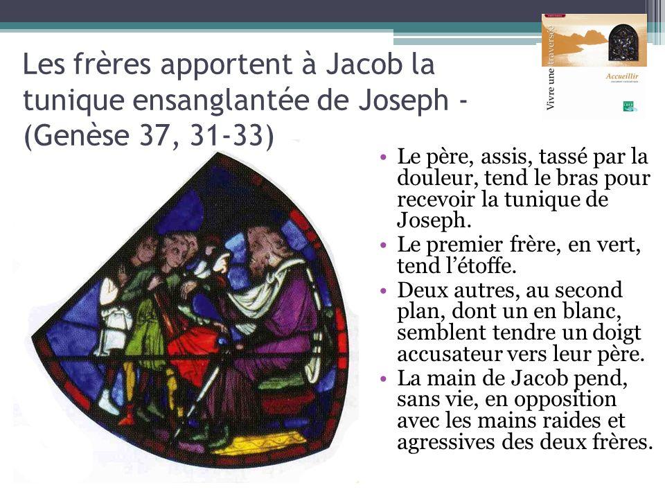 Le père, assis, tassé par la douleur, tend le bras pour recevoir la tunique de Joseph. Le premier frère, en vert, tend létoffe. Deux autres, au second