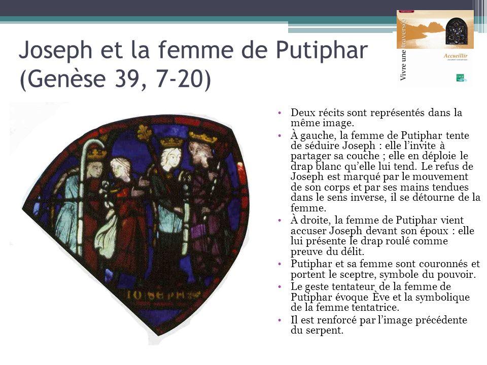 Joseph et la femme de Putiphar (Genèse 39, 7-20) Deux récits sont représentés dans la même image. À gauche, la femme de Putiphar tente de séduire Jose