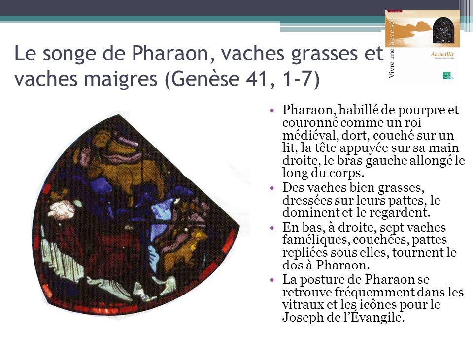 Le songe de Pharaon, vaches grasses et vaches maigres (Genèse 41, 1-7) Pharaon, habillé de pourpre et couronné comme un roi médiéval, dort, couché sur