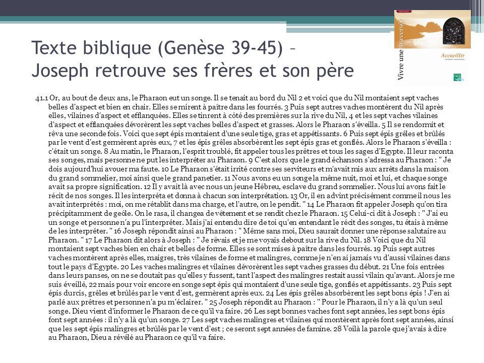 Texte biblique (Genèse 39-45) – Joseph retrouve ses frères et son père 41.1 Or, au bout de deux ans, le Pharaon eut un songe. Il se tenait au bord du