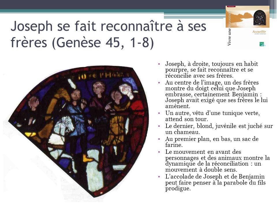 Joseph se fait reconnaître à ses frères (Genèse 45, 1-8) Joseph, à droite, toujours en habit pourpre, se fait reconnaître et se réconcilie avec ses fr