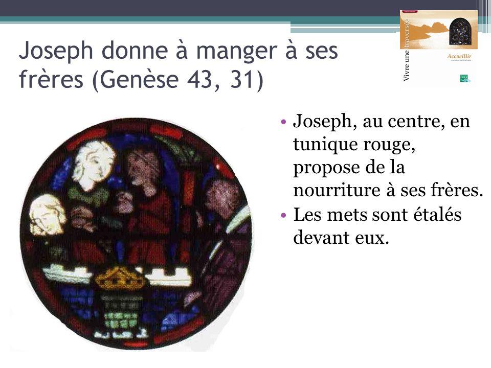 Joseph donne à manger à ses frères (Genèse 43, 31) Joseph, au centre, en tunique rouge, propose de la nourriture à ses frères. Les mets sont étalés de