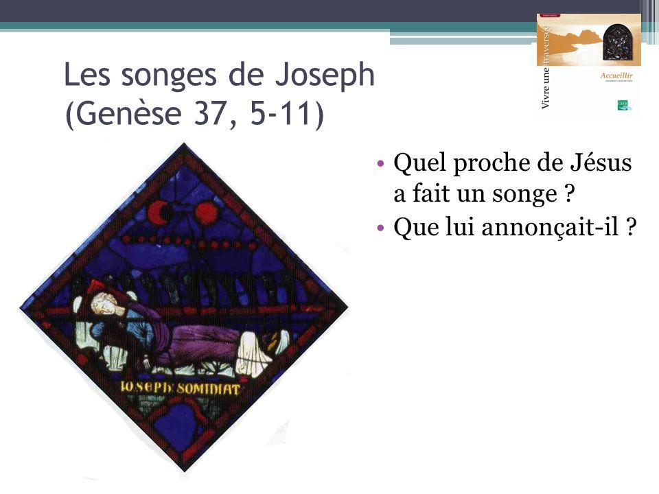 Les songes de Joseph (Genèse 37, 5-11) Quel proche de Jésus a fait un songe ? Que lui annonçait-il ?