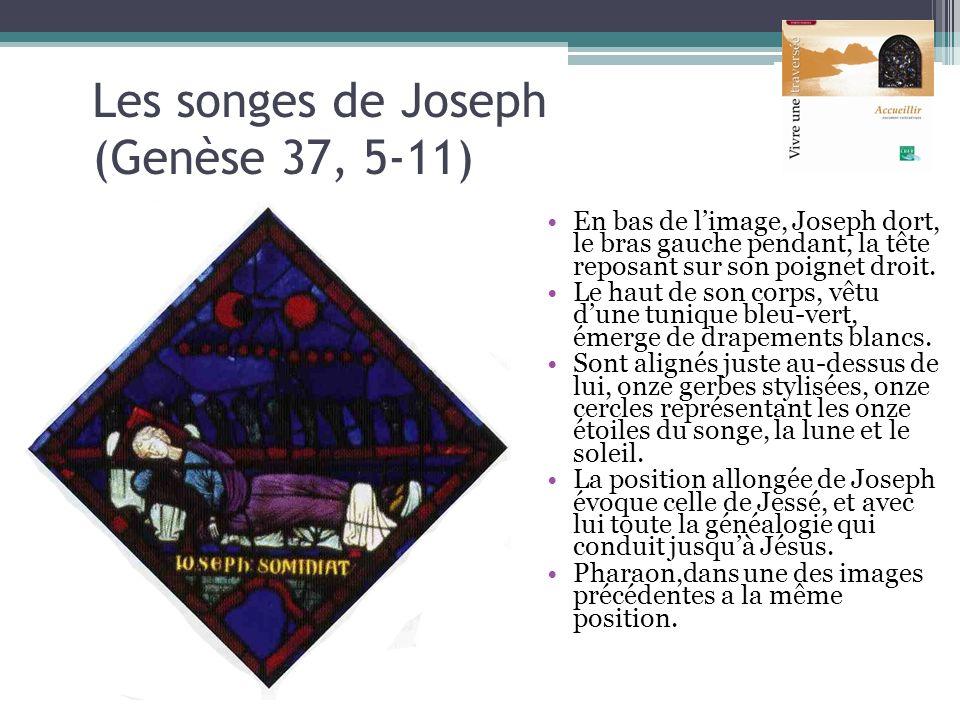 Les songes de Joseph (Genèse 37, 5-11) En bas de limage, Joseph dort, le bras gauche pendant, la tête reposant sur son poignet droit. Le haut de son c