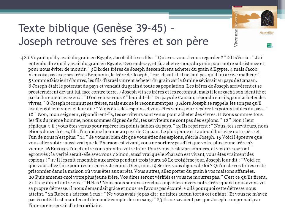 Texte biblique (Genèse 39-45) – Joseph retrouve ses frères et son père 42.1 Voyant qu'il y avait du grain en Egypte, Jacob dit à ses fils :