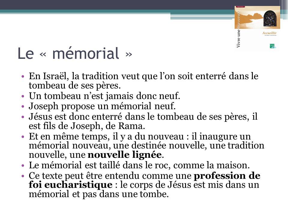 Le « mémorial » En Israël, la tradition veut que lon soit enterré dans le tombeau de ses pères. Un tombeau nest jamais donc neuf. Joseph propose un mé