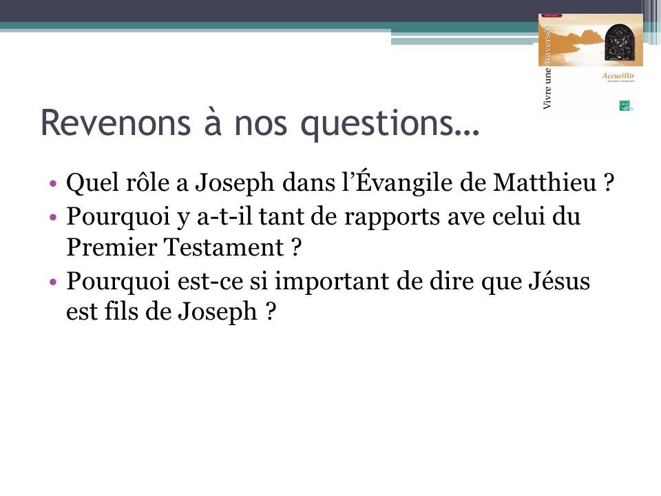 Revenons à nos questions… Quel rôle a Joseph dans lÉvangile de Matthieu ? Pourquoi y a-t-il tant de rapports ave celui du Premier Testament ? Pourquoi