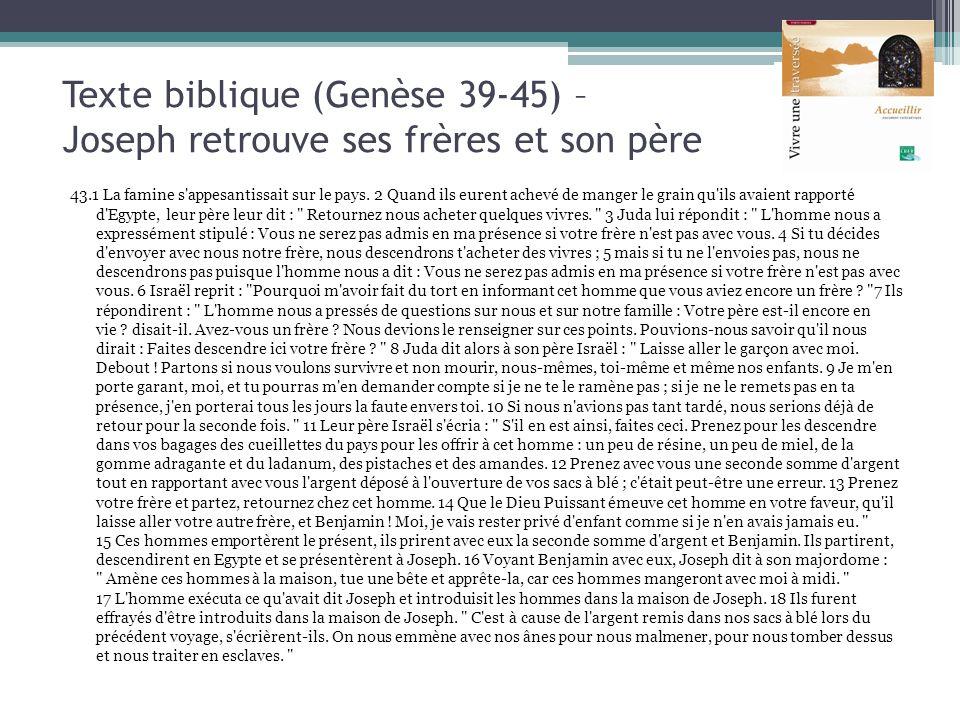 Texte biblique (Genèse 39-45) – Joseph retrouve ses frères et son père 43.1 La famine s'appesantissait sur le pays. 2 Quand ils eurent achevé de mange