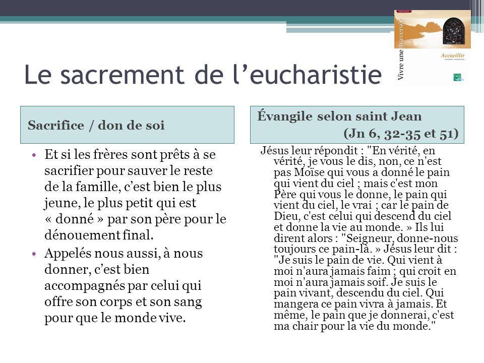Le sacrement de leucharistie Sacrifice / don de soi Évangile selon saint Jean (Jn 6, 32-35 et 51) Et si les frères sont prêts à se sacrifier pour sauv