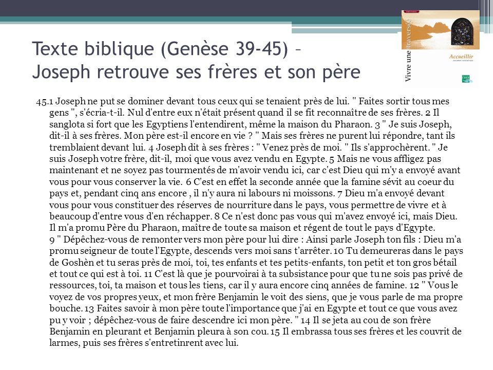 Texte biblique (Genèse 39-45) – Joseph retrouve ses frères et son père 45.1 Joseph ne put se dominer devant tous ceux qui se tenaient près de lui.