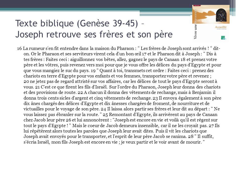 Texte biblique (Genèse 39-45) – Joseph retrouve ses frères et son père 16 La rumeur s'en fit entendre dans la maison du Pharaon :