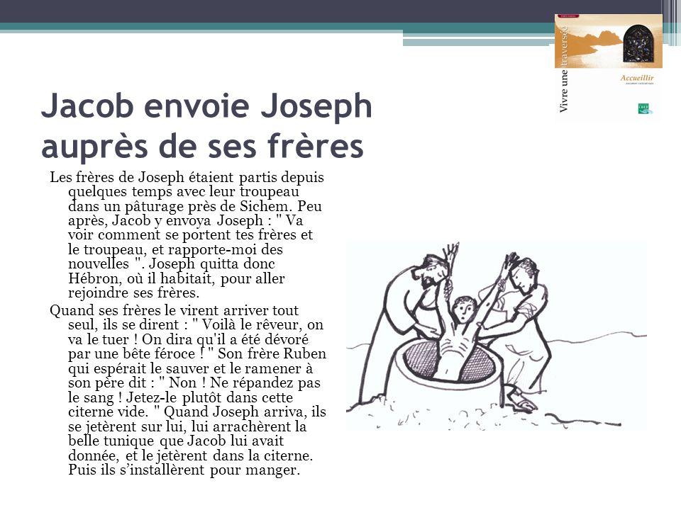 Jacob envoie Joseph auprès de ses frères Les frères de Joseph étaient partis depuis quelques temps avec leur troupeau dans un pâturage près de Sichem.