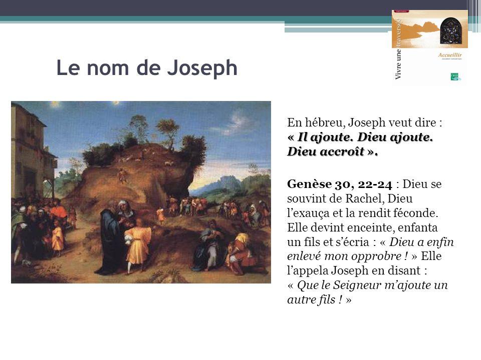 Le nom de Joseph « Il ajoute. Dieu ajoute. Dieu accroît ». En hébreu, Joseph veut dire : « Il ajoute. Dieu ajoute. Dieu accroît ». Genèse 30, 22-24 :