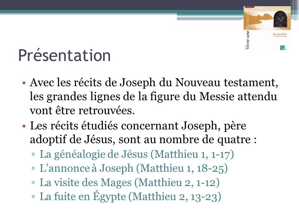 Présentation Avec les récits de Joseph du Nouveau testament, les grandes lignes de la figure du Messie attendu vont être retrouvées. Les récits étudié