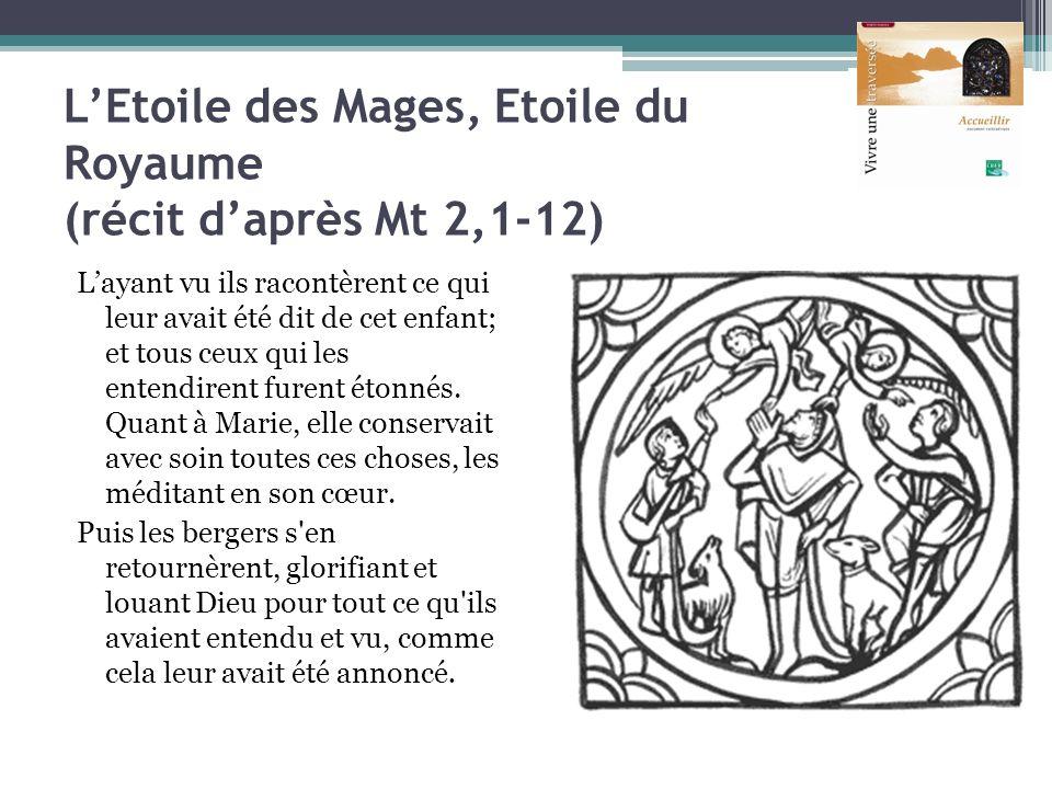 LEtoile des Mages, Etoile du Royaume (récit daprès Mt 2,1-12) Layant vu ils racontèrent ce qui leur avait été dit de cet enfant; et tous ceux qui les