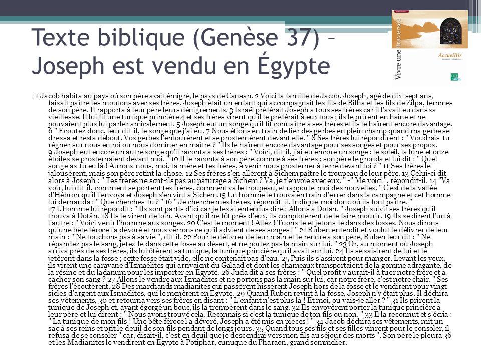 Texte biblique (Genèse 37) – Joseph est vendu en Égypte 1 Jacob habita au pays où son père avait émigré, le pays de Canaan. 2 Voici la famille de Jaco