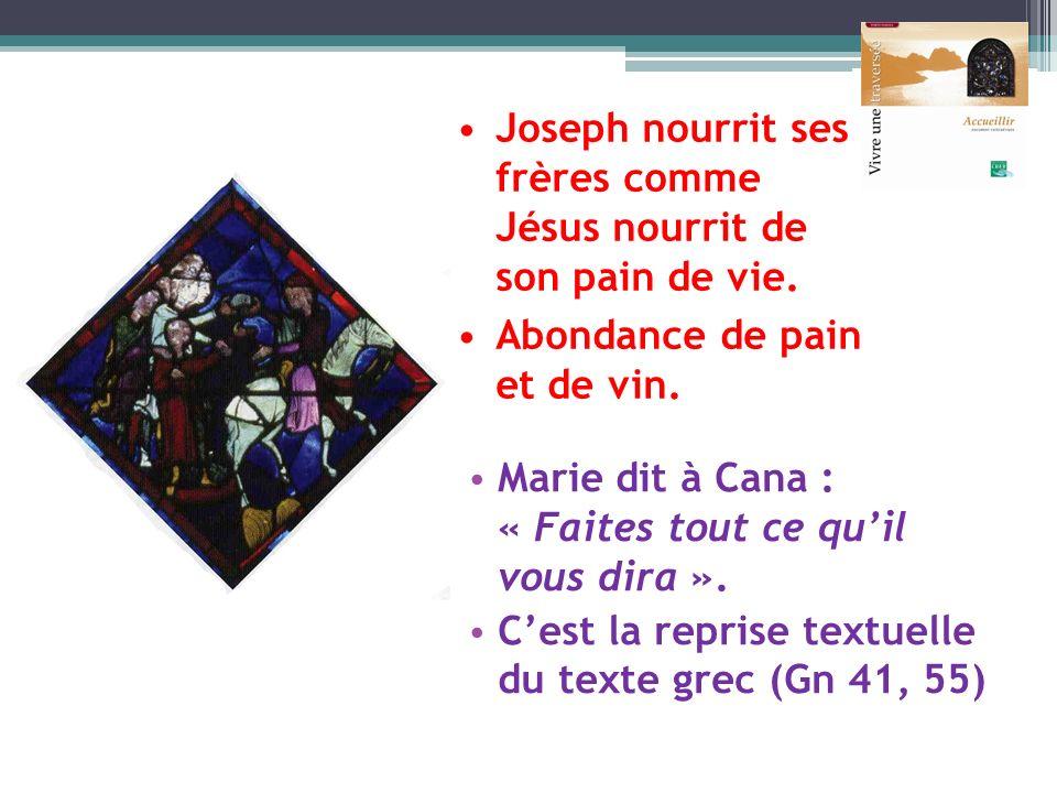 Marie dit à Cana : « Faites tout ce quil vous dira ». Cest la reprise textuelle du texte grec (Gn 41, 55) Joseph nourrit ses frères comme Jésus nourri
