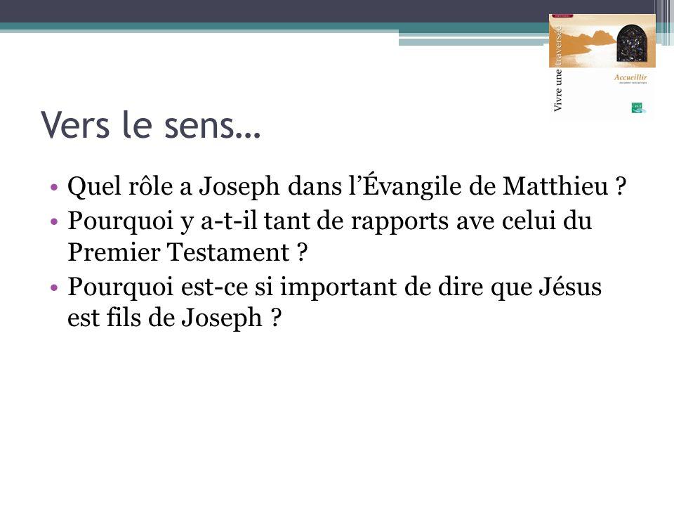 Vers le sens… Quel rôle a Joseph dans lÉvangile de Matthieu ? Pourquoi y a-t-il tant de rapports ave celui du Premier Testament ? Pourquoi est-ce si i
