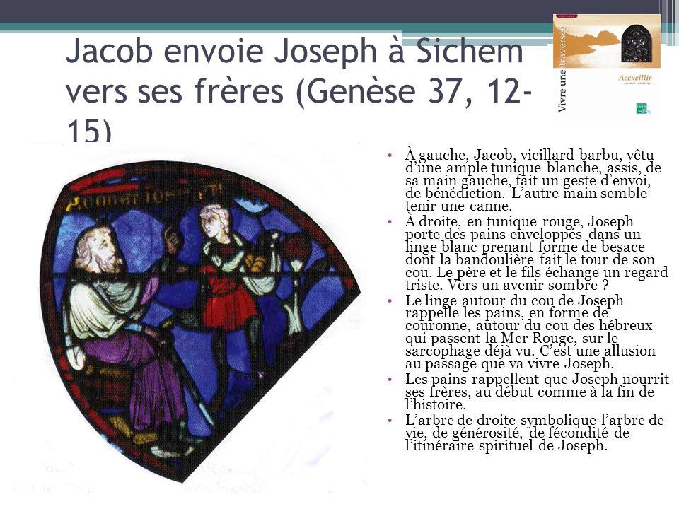 Jacob envoie Joseph à Sichem vers ses frères (Genèse 37, 12- 15) À gauche, Jacob, vieillard barbu, vêtu dune ample tunique blanche, assis, de sa main