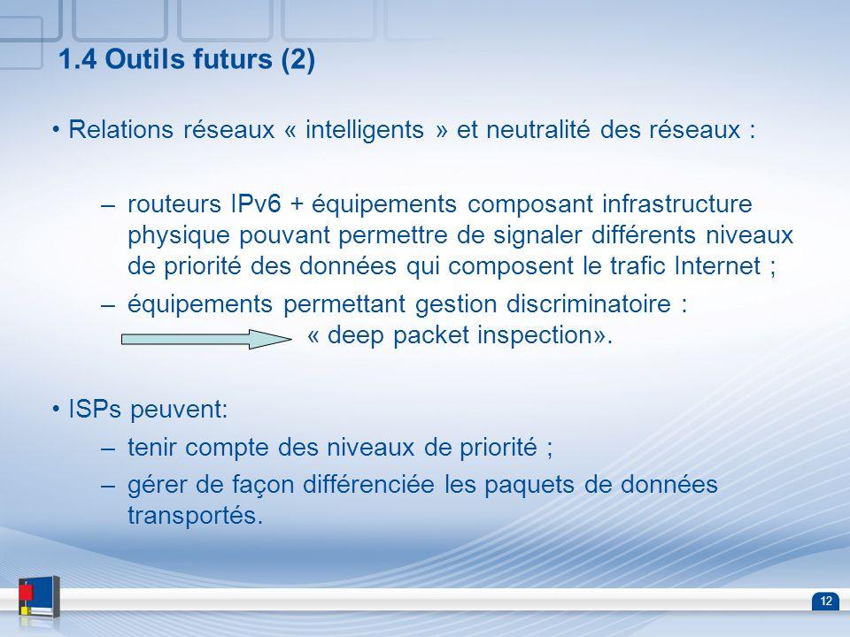 12 1.4 Outils futurs (2) Relations réseaux « intelligents » et neutralité des réseaux : –routeurs IPv6 + équipements composant infrastructure physique