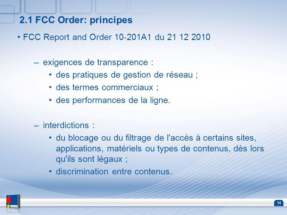 14 2.1 FCC Order: principes FCC Report and Order 10-201A1 du 21 12 2010 –exigences de transparence : des pratiques de gestion de réseau ; des termes c