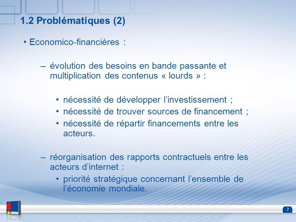 7 1.2 Problématiques (2) Economico-financières : –évolution des besoins en bande passante et multiplication des contenus « lourds » : nécessité de dév