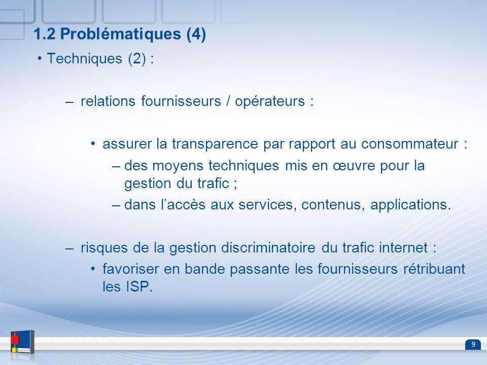 9 1.2 Problématiques (4) Techniques (2) : –relations fournisseurs / opérateurs : assurer la transparence par rapport au consommateur : –des moyens tec