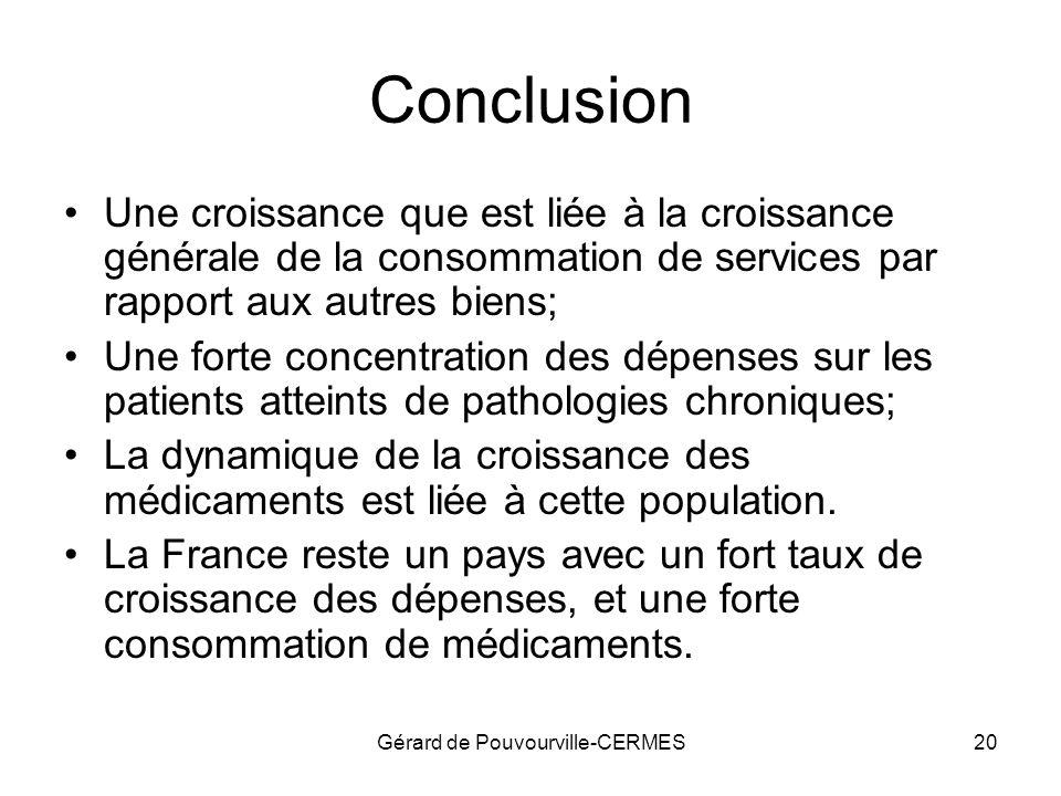 Gérard de Pouvourville-CERMES20 Conclusion Une croissance que est liée à la croissance générale de la consommation de services par rapport aux autres
