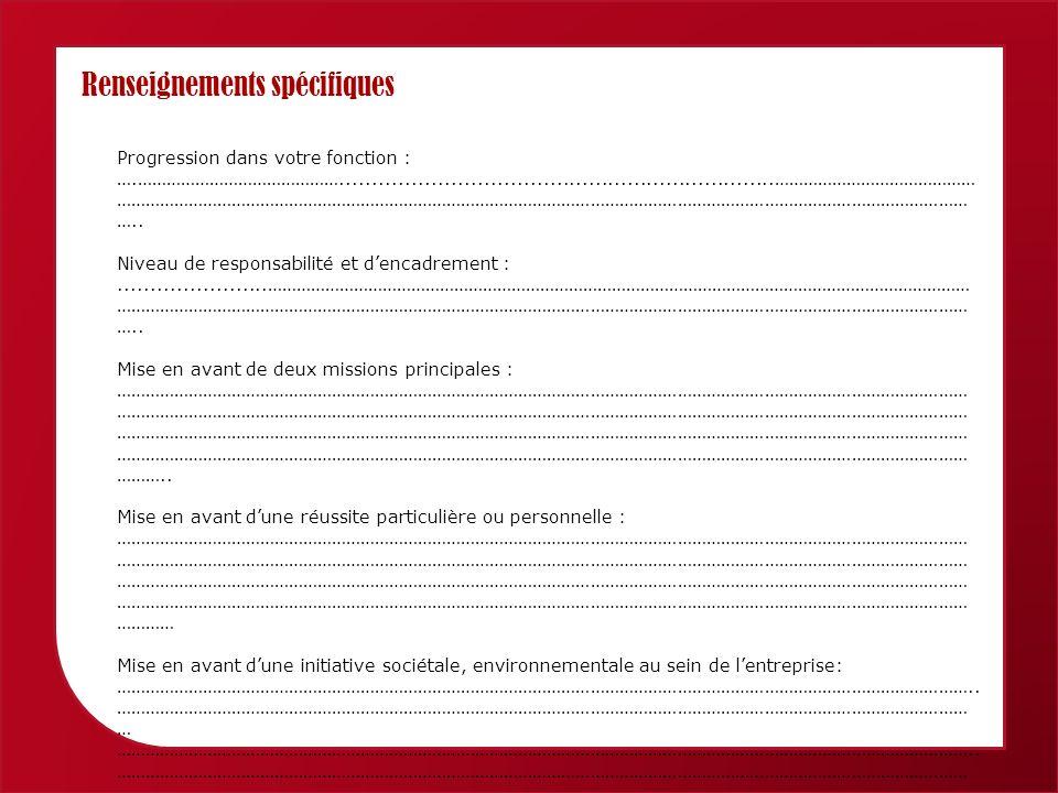 Femmes économiques de Provence Alpes Côte dAzur Renseignements spécifiques Progression dans votre fonction : ….……………………………………...................................................................…………………………………… …………………………………………………………………………………………………………………………………………………………… …..