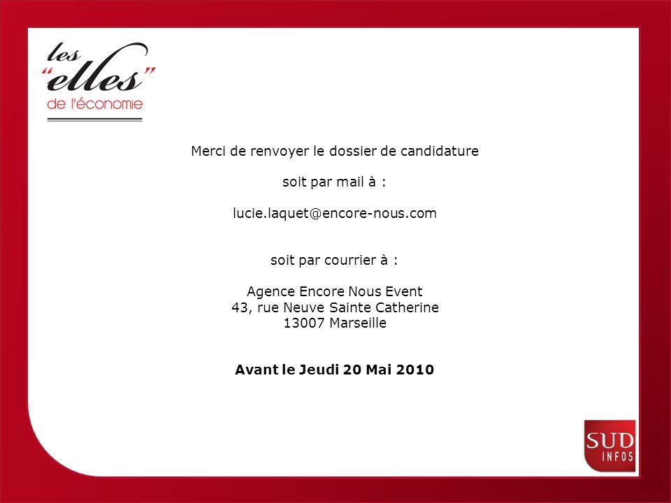 Femmes économiques de Provence Alpes Côte dAzur Merci de renvoyer le dossier de candidature soit par mail à : lucie.laquet@encore-nous.com soit par courrier à : Agence Encore Nous Event 43, rue Neuve Sainte Catherine 13007 Marseille Avant le Jeudi 20 Mai 2010