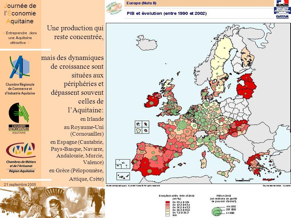 Chambre Régionale de Commerce et dIndustrie Aquitaine « Entreprendre dans une Aquitaine attractive » Journée de lÉconomie Aquitaine 21 septembre 2005 Une production qui reste concentrée, mais des dynamiques de croissance sont situées aux périphéries et dépassent souvent celles de lAquitaine: en Irlande au Royaume-Uni (Cornouailles) en Espagne (Cantabrie, Pays-Basque, Navarre, Andalousie, Murcie, Valence) en Grèce (Péloponnèse, Attique, Crète)