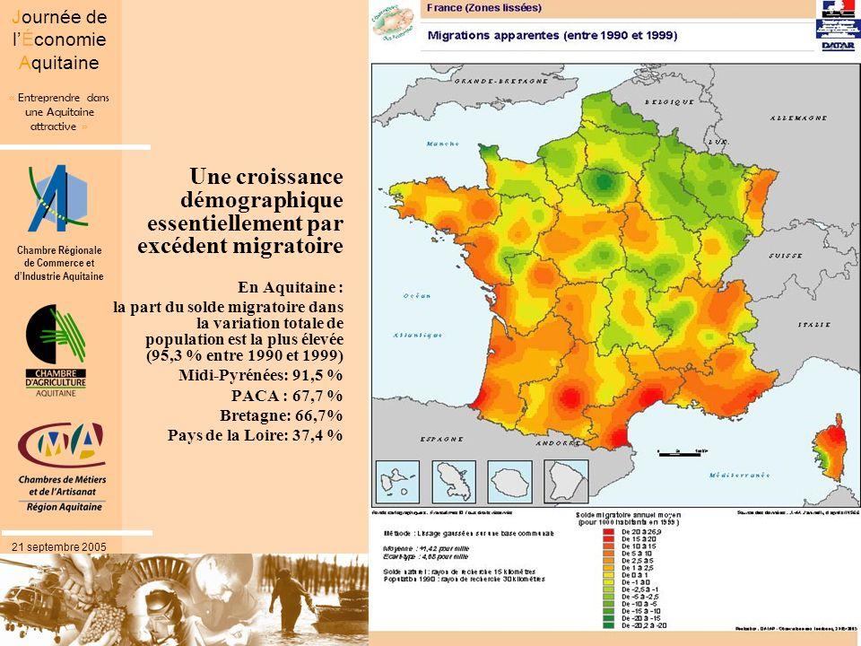 Chambre Régionale de Commerce et dIndustrie Aquitaine « Entreprendre dans une Aquitaine attractive » Journée de lÉconomie Aquitaine 21 septembre 2005 une dynamique résidentielle confirmée par les résultats les plus récents Entre 1999 et 2003, lAquitaine est la troisième région pour lexcédent migratoire ( après le Languedoc- Roussillon et Midi-Pyrénées) mais avec un solde naturel qui reste proche de zéro Un excédent migratoire qui porte sur toutes les tranches dâge au-delà de trente ans