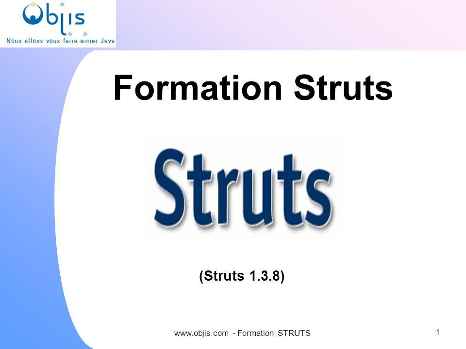 www.objis.com - Formation SPRING Controleur : configuration web.xml 22 configuration via struts-config.xml gestion par controlleur URLs type http://serveur/page.do
