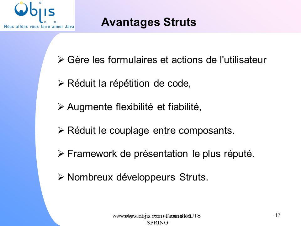 www.objis.com - Formation SPRING Avantages Struts Gère les formulaires et actions de l'utilisateur Réduit la répétition de code, Augmente flexibilité