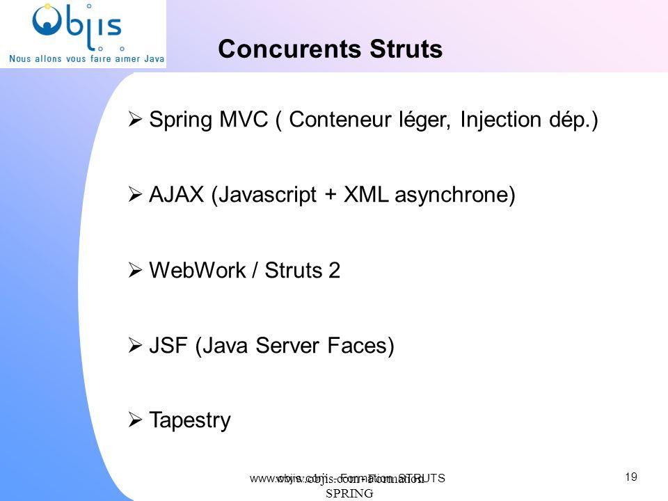 www.objis.com - Formation SPRING Concurents Struts Spring MVC ( Conteneur léger, Injection dép.) AJAX (Javascript + XML asynchrone) WebWork / Struts 2
