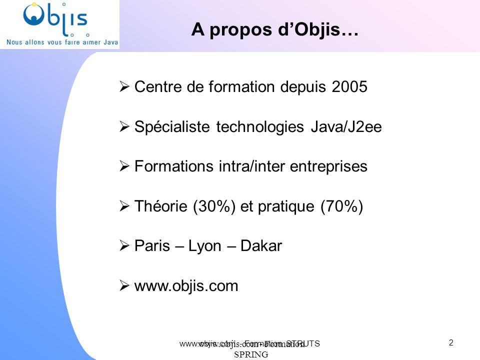 www.objis.com - Formation SPRING Controleur : configuration struts-config.xml mapping URL / Action Struts Textes, multilinguisme Liste beans formulaire (associés à une jsp)