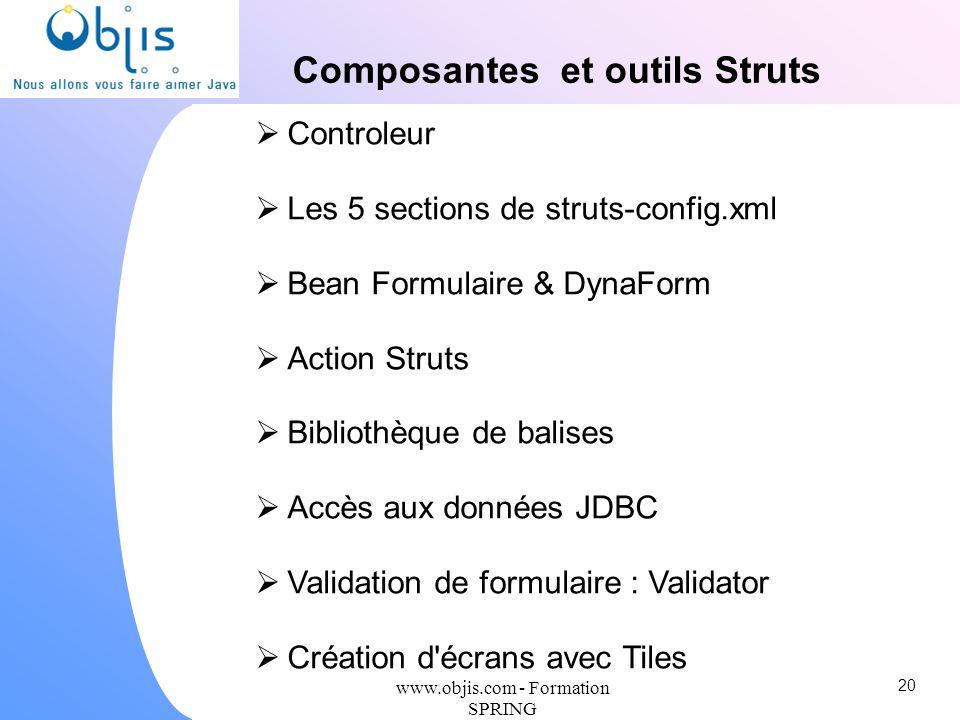 www.objis.com - Formation SPRING Composantes et outils Struts Controleur Les 5 sections de struts-config.xml Bean Formulaire & DynaForm Action Struts