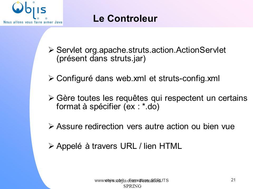 www.objis.com - Formation SPRING Le Controleur Servlet org.apache.struts.action.ActionServlet (présent dans struts.jar) Configuré dans web.xml et stru