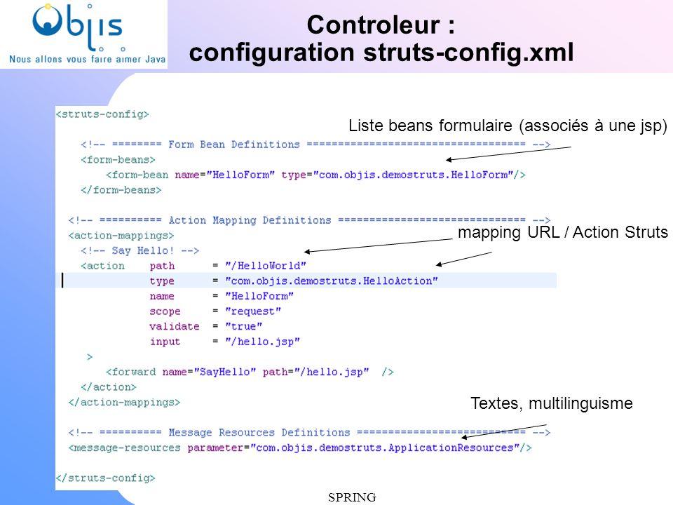 www.objis.com - Formation SPRING Controleur : configuration struts-config.xml mapping URL / Action Struts Textes, multilinguisme Liste beans formulair