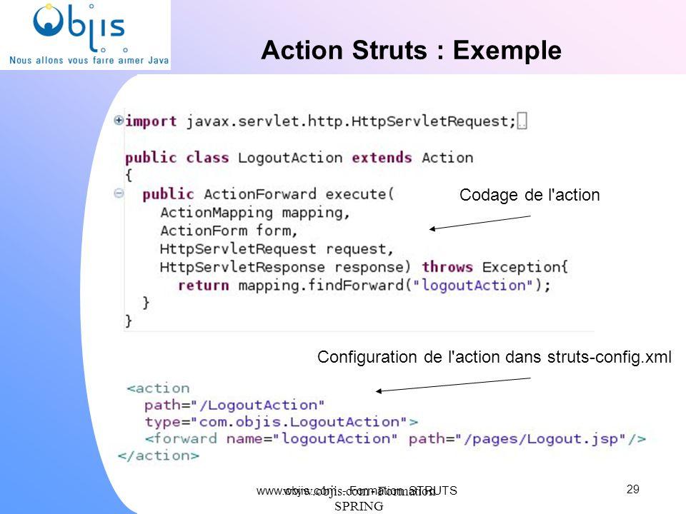 www.objis.com - Formation SPRING Action Struts : Exemple 29 Codage de l'action Configuration de l'action dans struts-config.xml www.objis.com - Format