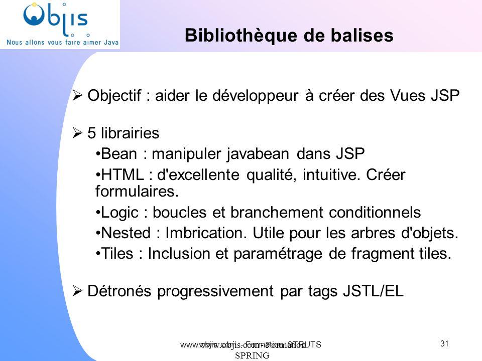 www.objis.com - Formation SPRING Bibliothèque de balises Objectif : aider le développeur à créer des Vues JSP 5 librairies Bean : manipuler javabean d