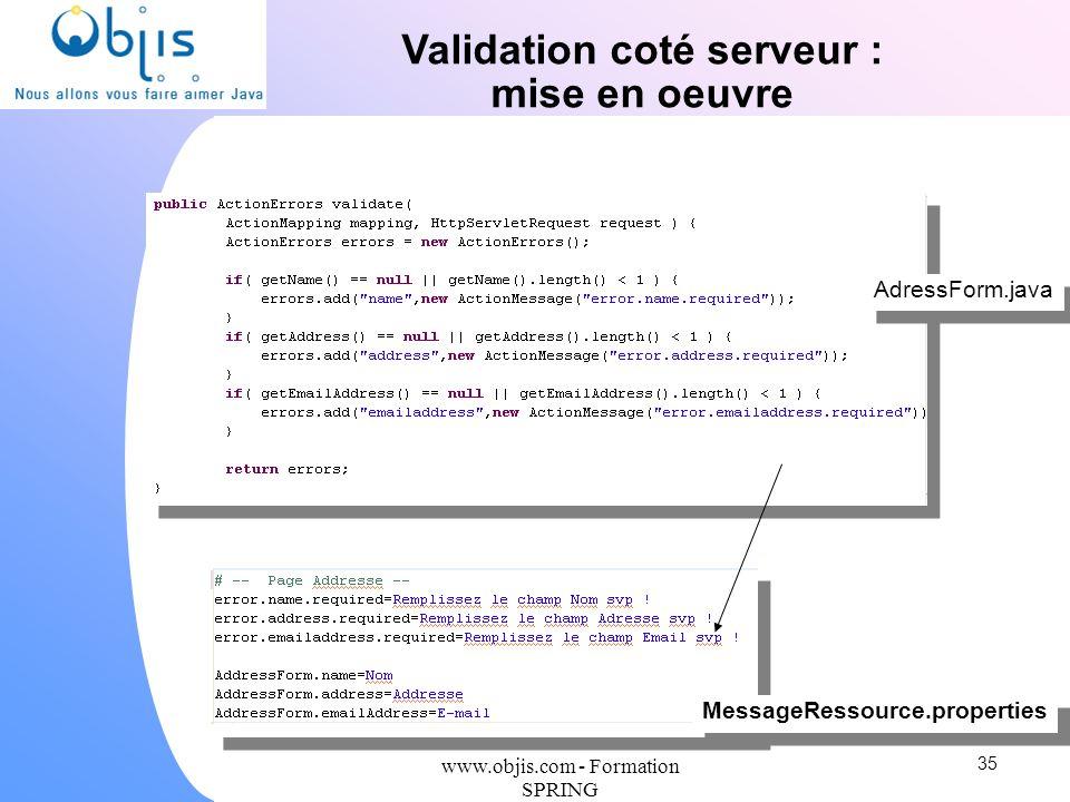 www.objis.com - Formation SPRING Validation coté serveur : mise en oeuvre 35 MessageRessource.properties AdressForm.java