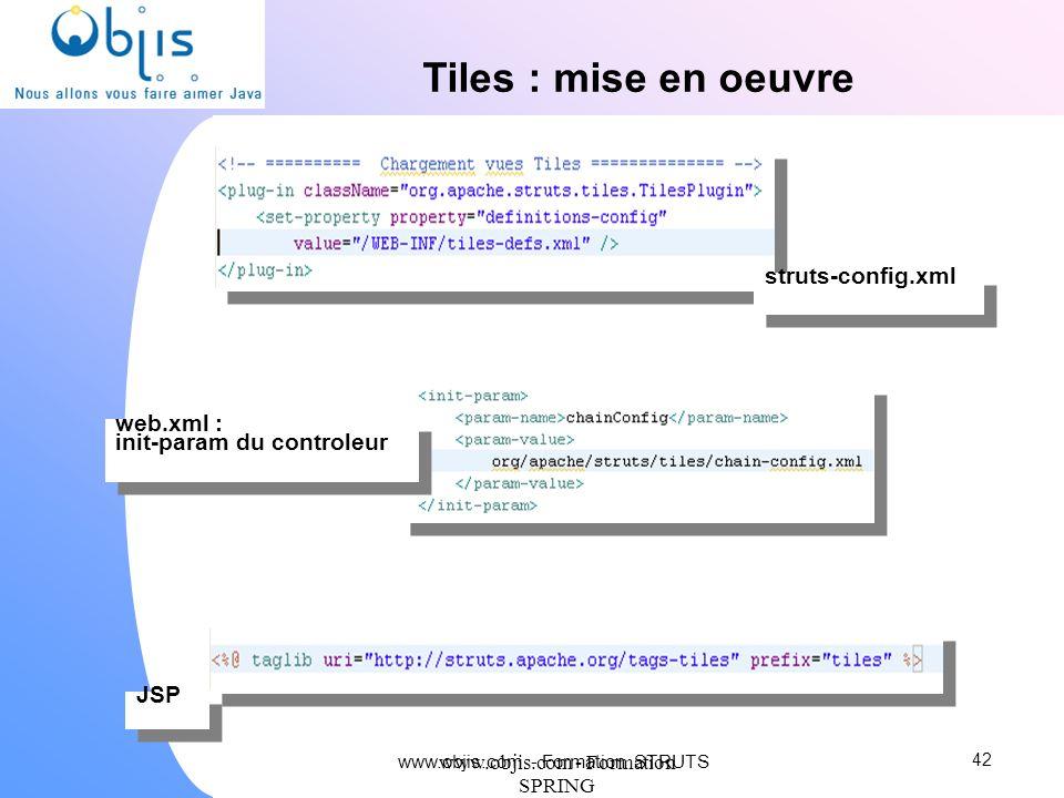 www.objis.com - Formation SPRING Tiles : mise en oeuvre 42 JSP struts-config.xml web.xml : init-param du controleur www.objis.com - Formation STRUTS