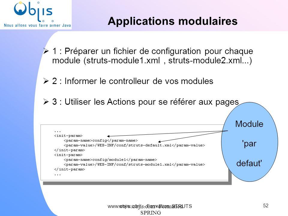 www.objis.com - Formation SPRING Applications modulaires 1 : Préparer un fichier de configuration pour chaque module (struts-module1.xml, struts-modul