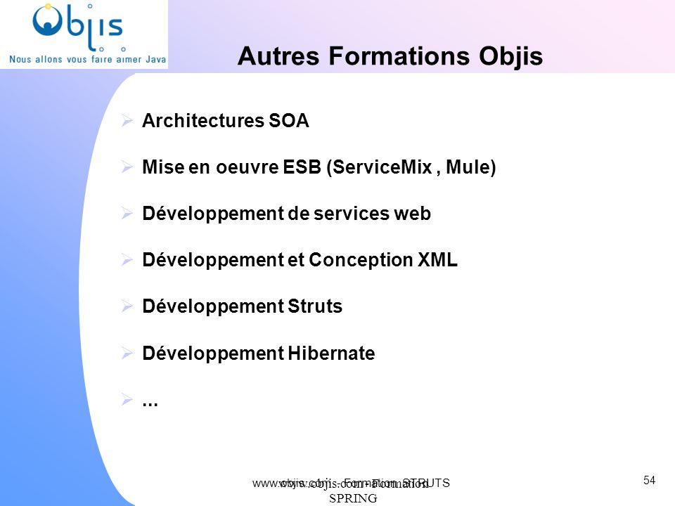 www.objis.com - Formation SPRING Autres Formations Objis Architectures SOA Mise en oeuvre ESB (ServiceMix, Mule) Développement de services web Dévelop