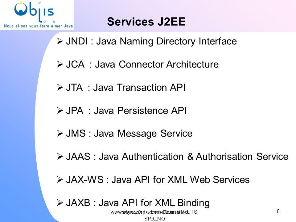 www.objis.com - Formation SPRING Services J2EE JNDI : Java Naming Directory Interface JCA : Java Connector Architecture JTA : Java Transaction API JPA