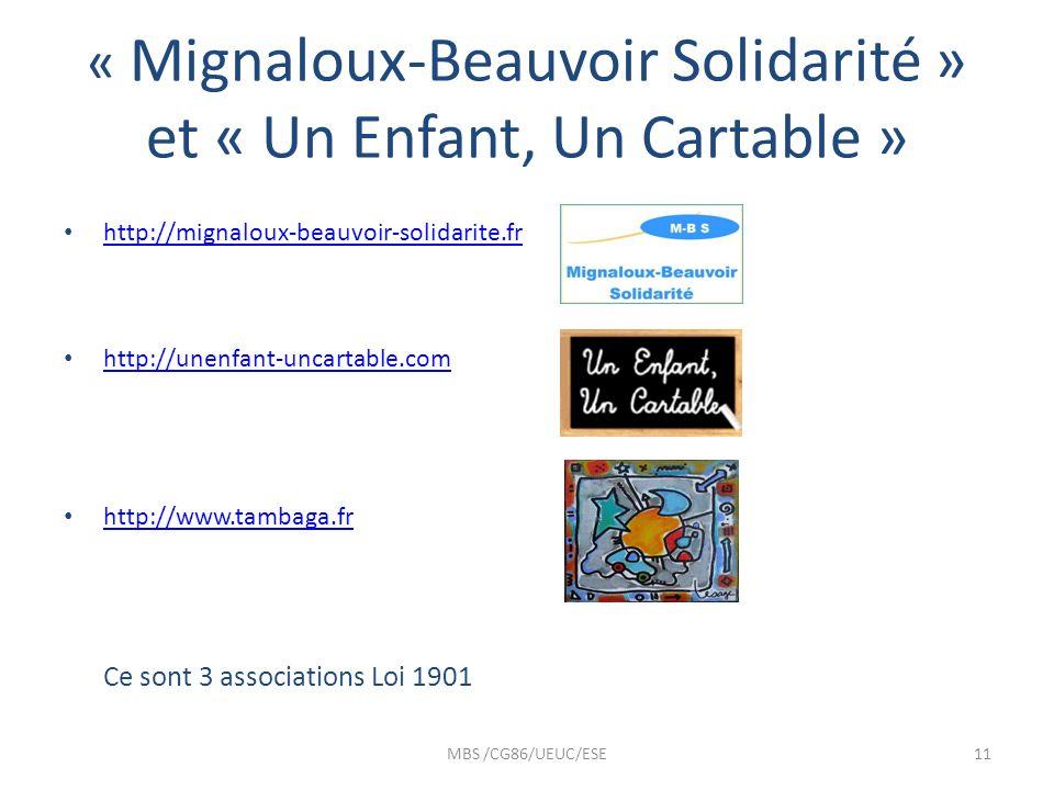 « Mignaloux-Beauvoir Solidarité » et « Un Enfant, Un Cartable » http://mignaloux-beauvoir-solidarite.fr http://unenfant-uncartable.com http://www.tamb