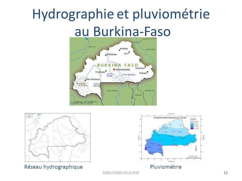 Hydrographie et pluviométrie au Burkina-Faso MBS /CG86/UEUC/ESE12 Réseau hydrographiquePluviométrie