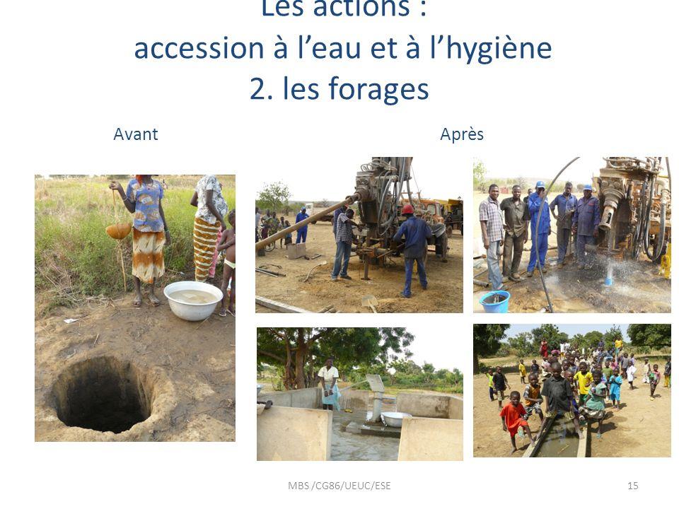 Les actions : accession à leau et à lhygiène 2. les forages Avant Après MBS /CG86/UEUC/ESE15