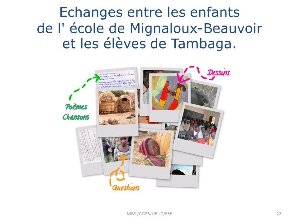 Echanges entre les enfants de l' école de Mignaloux-Beauvoir et les élèves de Tambaga. MBS /CG86/UEUC/ESE22